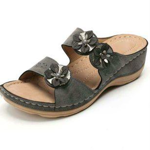 Women's Flower Slingbacks Wedge Heel Sandals_1