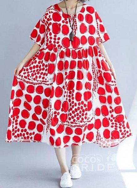 Red Plus Size Tunic Polka Dot Round Neckline Casual Midi Plus Dress_3