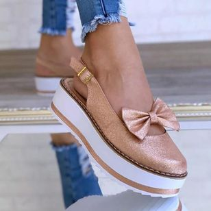Women's Bowknot Buckle Slingbacks Wedge Heel Sandals_8