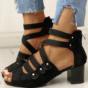 Women's Zipper Cloth Chunky Heel Sandals_3