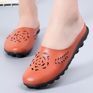Women's Hollow-out Flower Closed Toe Slingbacks Flat Heel Sandals_6