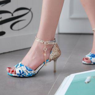 Women's Beading Buckle Heels Leatherette Stiletto Heel Sandals_7