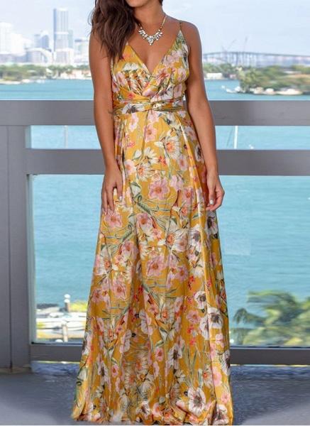Elegant Floral Wrap Slip X-line Dress_11