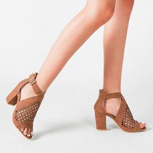 Women's Net Surface Buckle Ankle Strap Peep Toe Chunky Heel Sandals_3