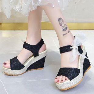 Women's Geometric Lace-up Heels Cloth Wedge Heel Sandals_3