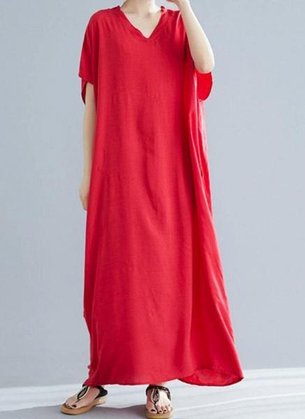 Royal Blue Plus Size Tunic Solid V-Neckline Casual Maxi Plus Dress_15
