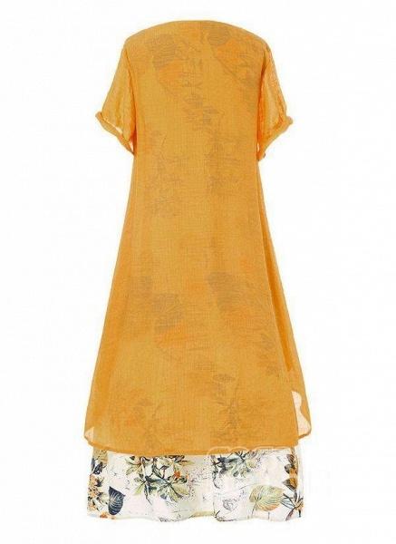 Green Plus Size Color Block Round Neckline Casual Buttons Maxi Plus Dress_2