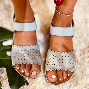 Women's Hollow-out Slingbacks Cloth Wedge Heel Sandals_9