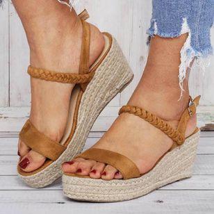 Women's Buckle Slingbacks Cloth Wedge Heel Sandals Platforms_1