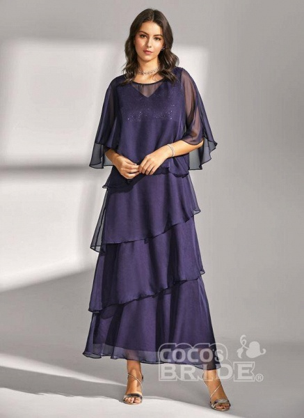 Dark Blue Elegant Solid Round Neckline Maxi X-line Dress_5
