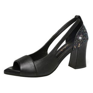 Women's Sequin Heels Spool Heel Sandals_4