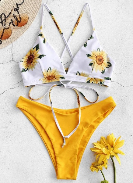 Polyester Knotted Floral Bikinis Swimwear_2
