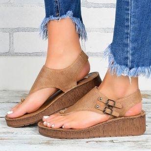 Women's Buckle Flip-Flops Cloth Wedge Heel Sandals Platforms_4