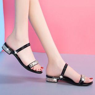 Women's Rhinestone Flats Chunky Heel Sandals Slippers_3