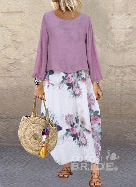 Purple Plus Size Floral Round Neckline Casual Maxi O Dress Plus Dress_3