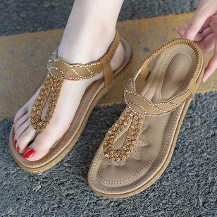 Women's Rhinestone Flip-Flops Flat Heel Sandals_4