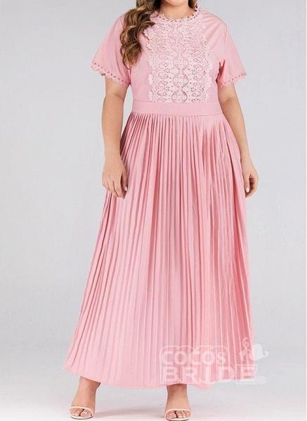 Pink Plus Size Solid Round Neckline Elegant Lace Maxi Plus Dress_5