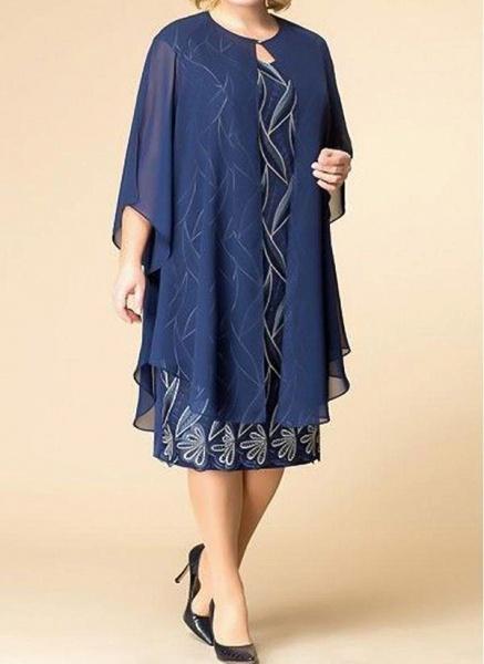 Blue Plus Size Tunic Floral Round Neckline Elegant Wrap Plus Dress_1