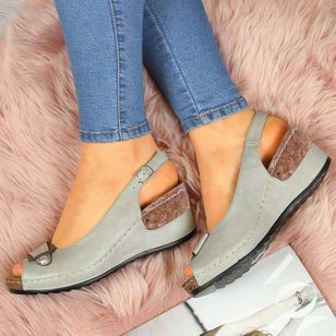 Women's Buckle Peep Toe Wedge Heel Sandals_4