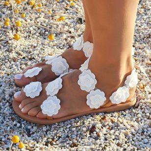 Women's Flower Flats Flat Heel Sandals_2