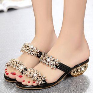 Women's Sequin Flower Slingbacks Low Heel Sandals_3