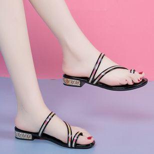 Women's Heels Sparkling Glitter Low Heel Sandals_5