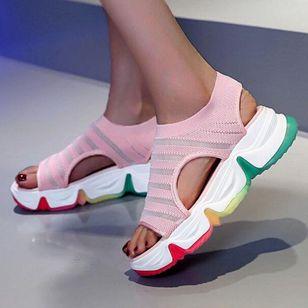 Women's Round Toe Fabric Flat Heel Sandals_2