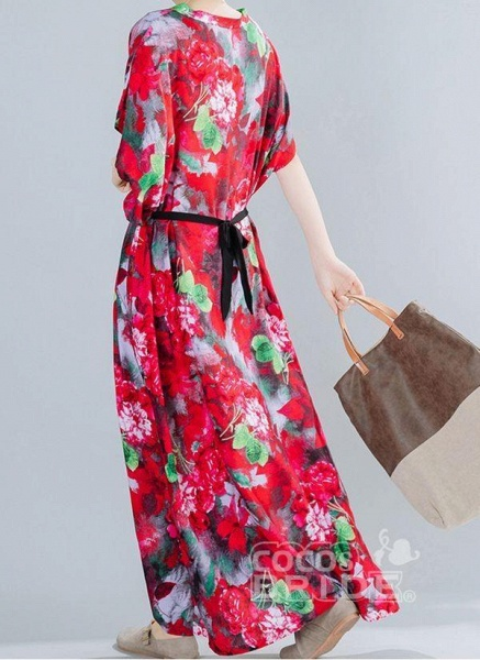 Red Plus Size Floral V-Neckline Boho Sashes Maxi Plus Dress_5