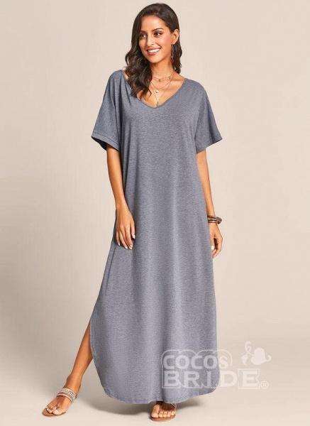 Royal Blue Plus Size Solid V-Neckline Casual Maxi Plus Dress_11