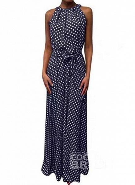 Red Casual Polka Dot Sashes Round Neckline X-line Dress_4