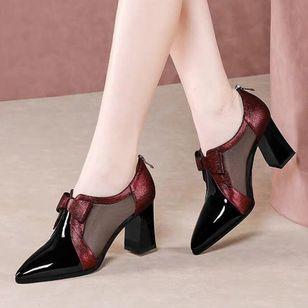 Women's Zipper Pointed Toe Heels Chunky Heel Sandals_3