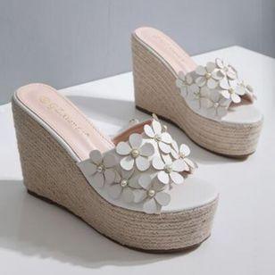 Women's Flower Peep Toe Wedge Heel Sandals_8
