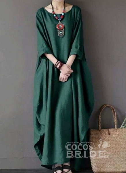 Red Plus Size Tunic Solid Round Neckline Casual Maxi Plus Dress_3