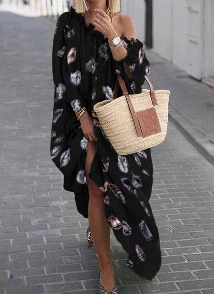 Black Plus Size Color Block Round Neckline Casual Maxi Shift Dress Plus Dress_1