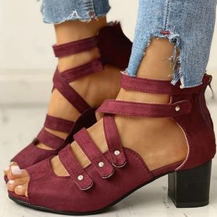 Women's Zipper Cloth Chunky Heel Sandals_5