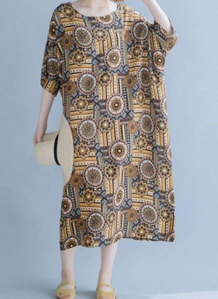 Khaki Plus Size Tunic Floral Round Neckline Casual Midi Plus Dress_1