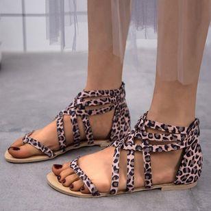 Women's Leopard Zipper Toe Ring Flat Heel Sandals_1