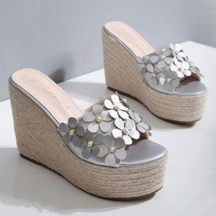 Women's Flower Peep Toe Wedge Heel Sandals_3