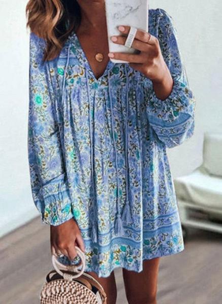 Casual Floral Tunic V-Neckline Shift Dress_4