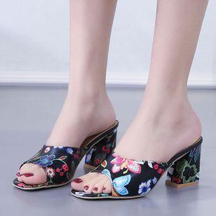 Women's Flower Heels Chunky Heel Sandals_5
