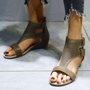 Women's Buckle Hollow-out Flats Flat Heel Sandals_9