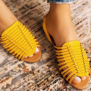 Women's Braided Strap Slingbacks Flat Heel Sandals_3