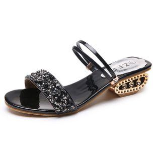 Women's Rhinestone Heels Chunky Heel Sandals_2