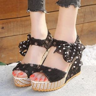 Women's Slingbacks Heels Cloth Wedge Heel Sandals Wedges_2