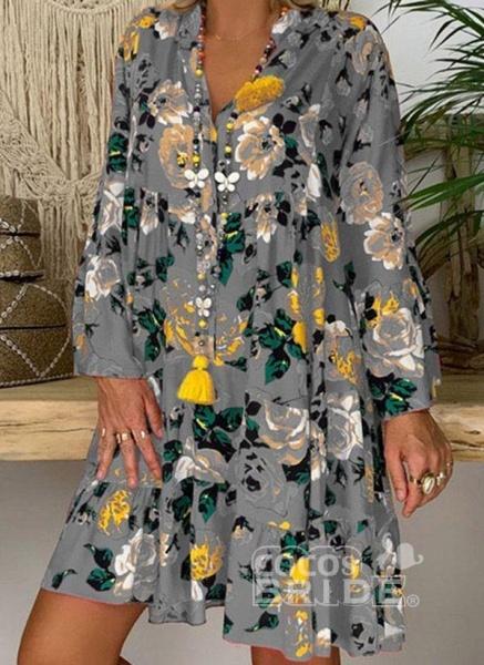 Rose Plus Size Tunic Floral V-Neckline Casual Buttons Plus Dress_4