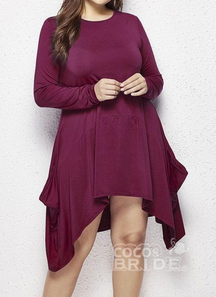 Military Green Plus Size Skater Solid Round Neckline Casual Above Knee Plus Dress_4