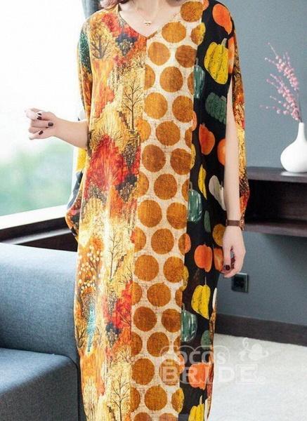 Orange Plus Size Tunic Color Block V-Neckline Casual Midi Plus Dress_4