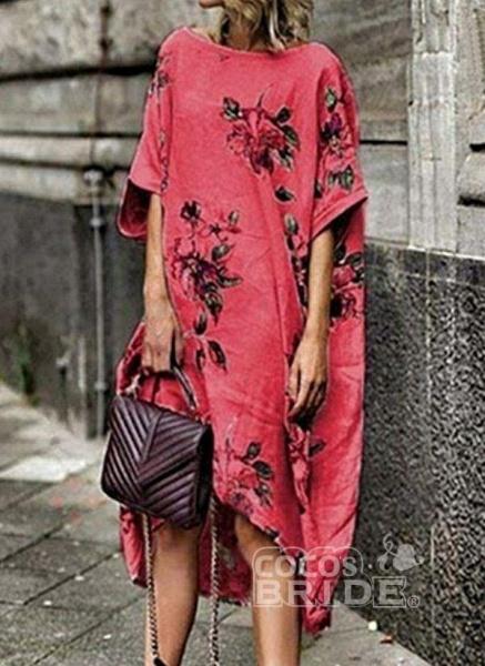 White Plus Size Tunic Floral Round Neckline Boho Midi Plus Dress_3