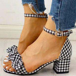 Women's Bowknot Buckle Heels Chunky Heel Sandals_4