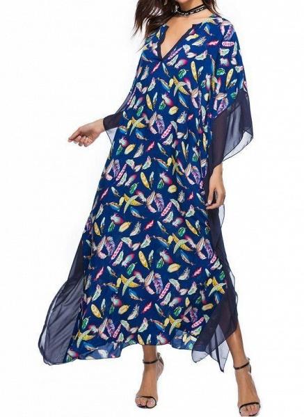 Blue Plus Size Tunic Color Block V-Neckline Casual Maxi Plus Dress_1